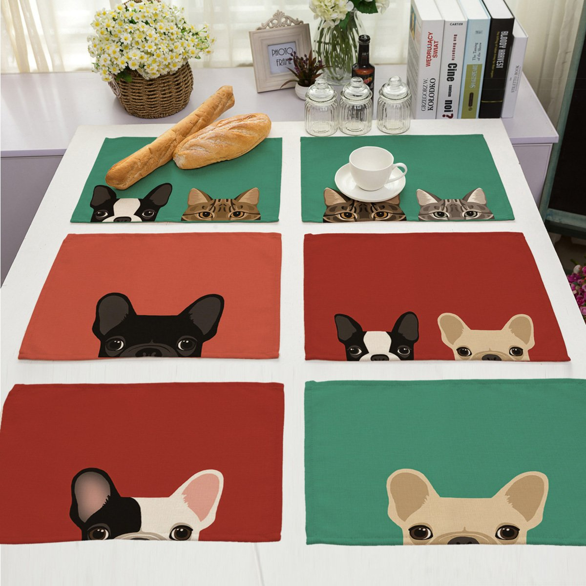 Dog/&Cat Pattern Table Mats Heat-resistant Non-slip Insulation Table Runner for Kitchen Dining Room Table Decoration Monoshop 6 In Set Cotton Linen Placemats