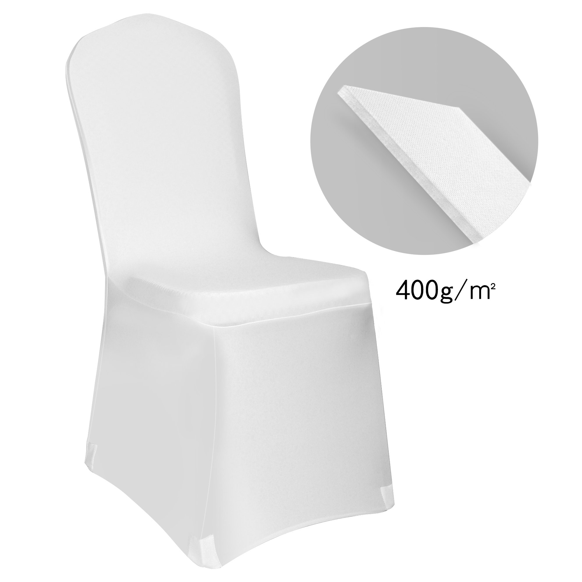 EMART Set of 12pcs White Polyester Spandex Chair Covers, Durable and Thick Folding Chair Covers for Banquet Wedding Party