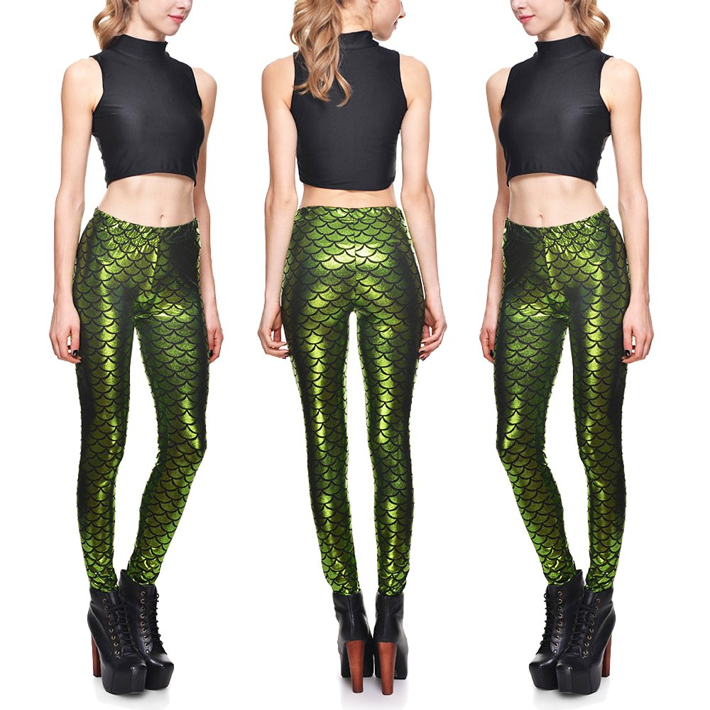BOMBAX Women Shinny Mermaid Scale Fitness Leggings Stretchy Yoga Pants Plus Size