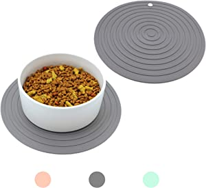 Ptlom Pet Food Mat for Dog and Cat Placemat 2 Pcs, Mat for Prevent Food and Water Overflow, Suitable for Medium and Small Pet,Silicone, 9.5