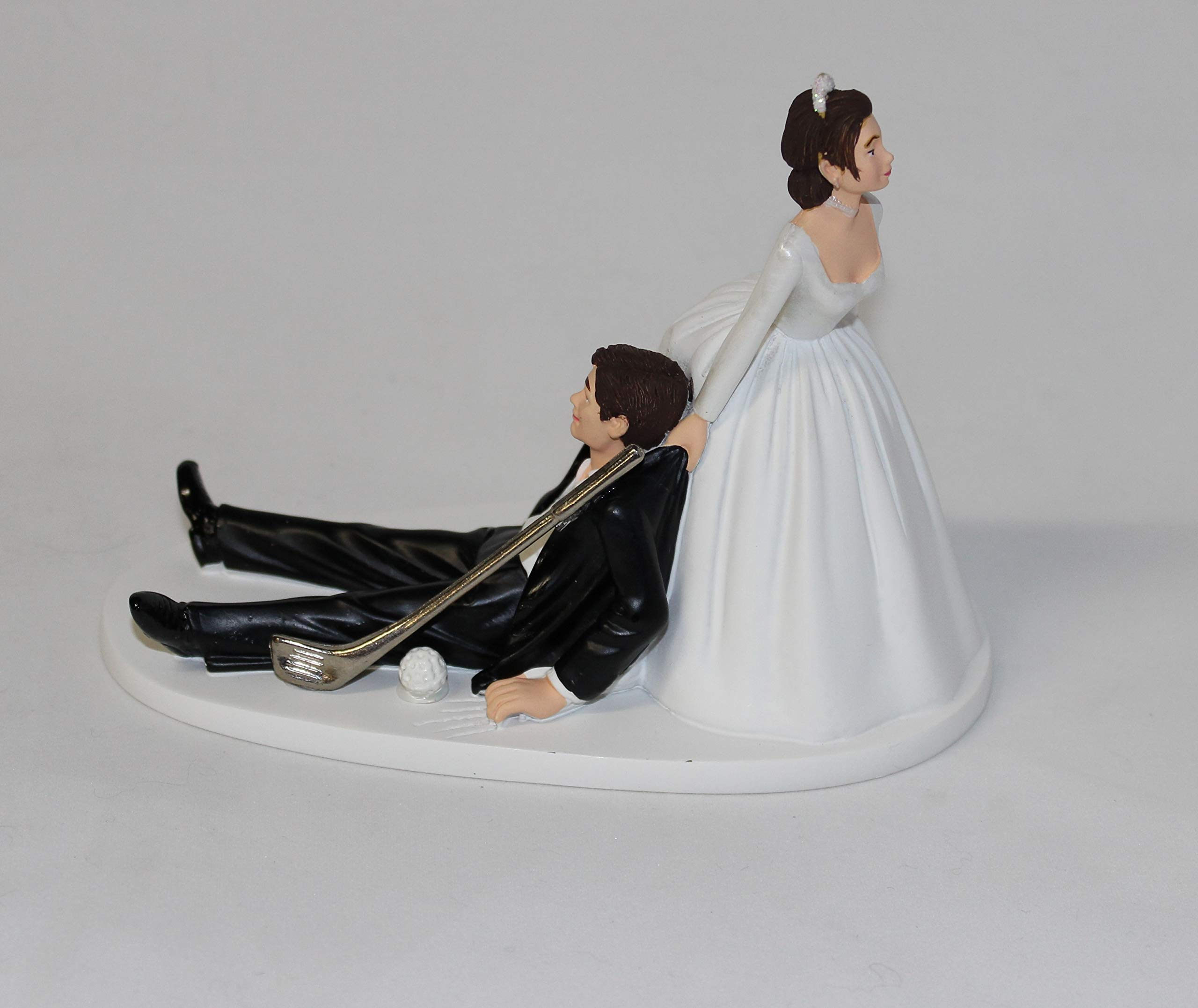 Wedding Party Reception Golf Golfer Clubs Dark Hair Couple Cake Topper by Custom Design Wedding Supplies by Suzanne (Image #1)