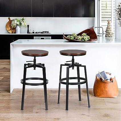 Sgabelli da Bar,Set di 2 Sgabello da Cucina Rotondi,Altezza  Regolabile,Sgabello da Colazione Regolabile a 360° con Poggiapiedi &  Struttura in ...