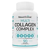 Multi Collagen Pills (Types I,II,III,V,X) 90 Capsules - Grass Fed Collagen Peptides...
