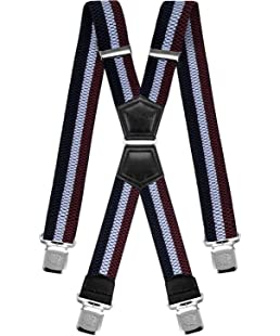 Decalen Mens Braces X Style Very Strong Clips Adjustable One Size Fits All Heavy Duty (Maroon Azure Navy Blue)
