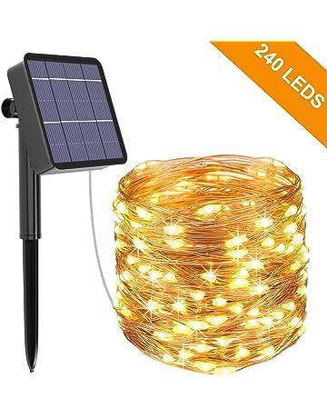 Guirnalda Luces Exterior Solar, Kolpop Cadena de Luces 26 Metros 240 LED Blanco Cálido,