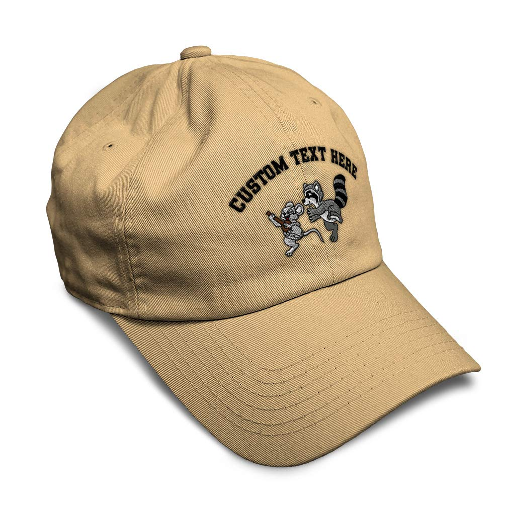 Custom Soft Baseball Cap Dancing Mouse and Raccoon Embroidery Twill Cotton