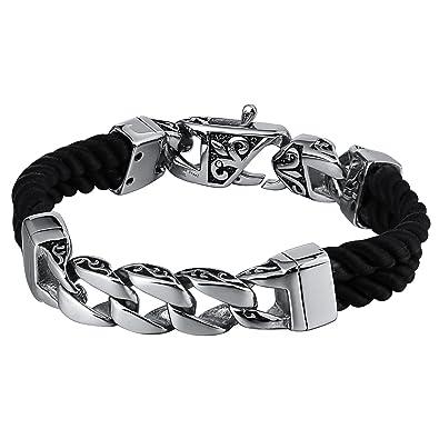 White Curb Meaning >> Amazon Com Beydodo Bracelet Black Cord Byzantine Bracelet