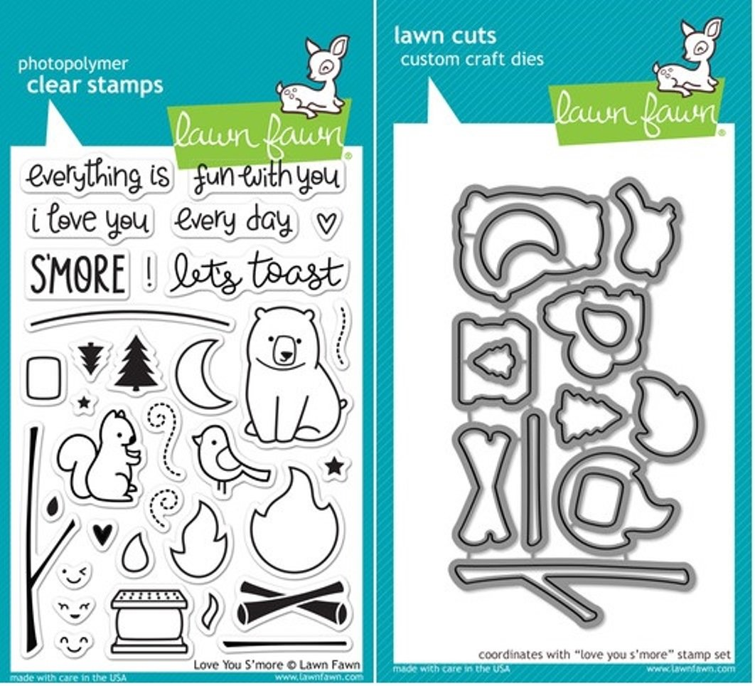 Lawn Fawn Love You S'more Clear Stamp and Die Set - Includes One Each of LF671 (Stamp) & LF672 (Die) - Custom Set LF671 LF672
