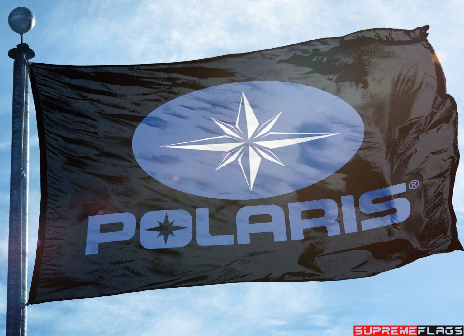 Polaris Flag Banner (90 x 150 cm) ATV Off Road Jet Ski Garage Wall Black Supreme Flags