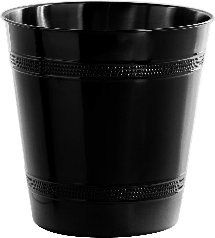 BINO Metal Waste Basket Bathroom Trash Can for Bedroom, Home Office, Dorm, College, Kitchen (Matte Black Hammered Stripe)