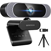 4K Webcam, 2021 DEPSTECH HD 8MP Sony Autofocus Webcam with Microphone, Privacy Cover and Tripod, Plug and Play USB…