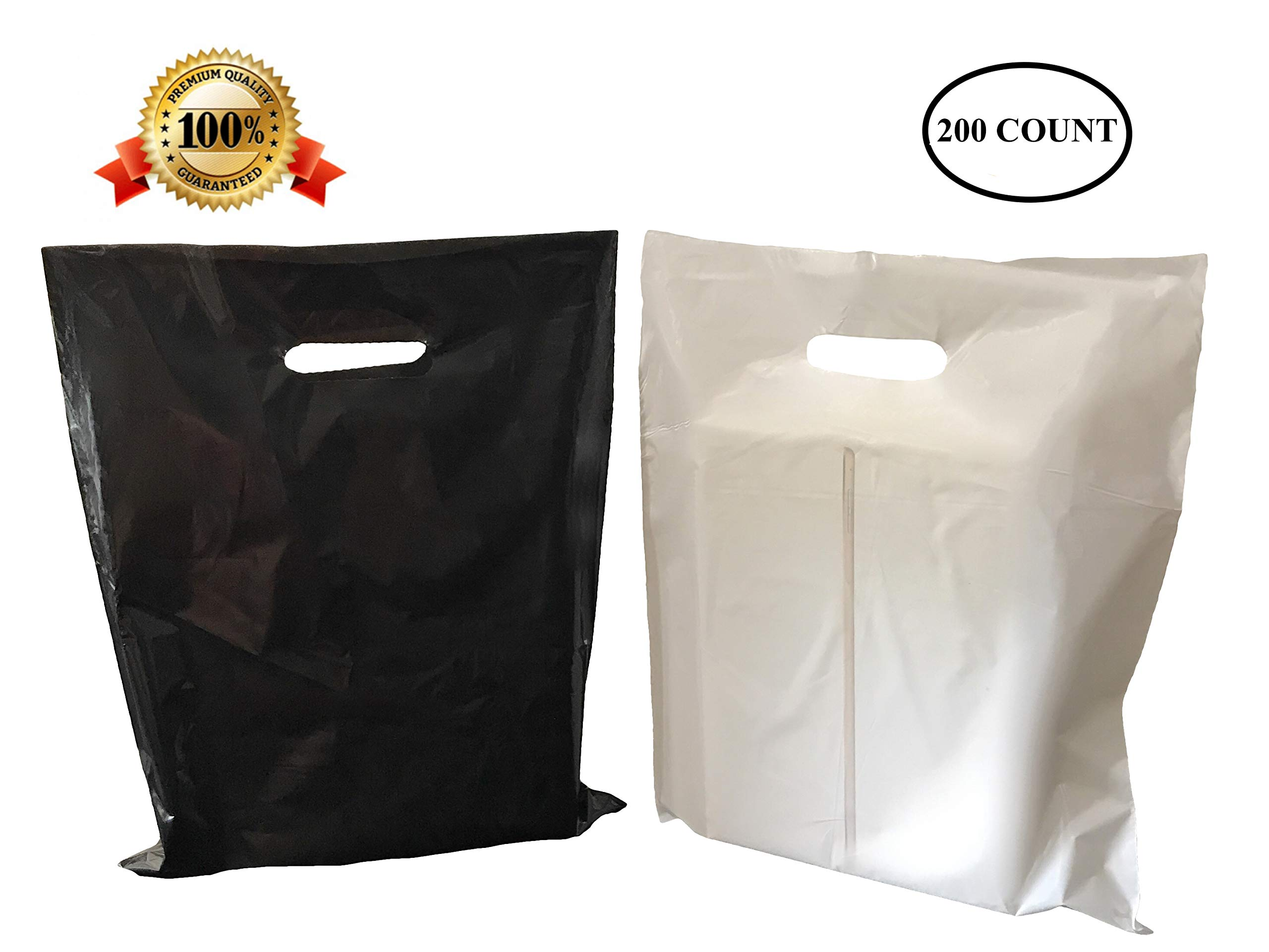200 12'' X 15'' Medium Black and White Merchandise Bags, Comfortable Die Cut Handles, Premium, Strong, Durable, Tear-Resistant Glossy Bags, Perfect for Retail, Boutiques, or Any Other Events