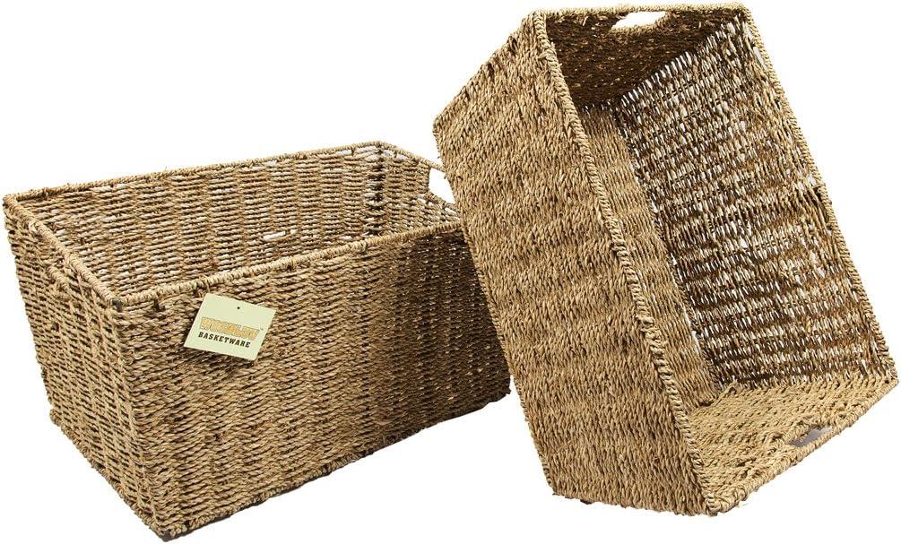 2 X Large Seagrass Shelf Storage Hamper Basket/Floor Basket