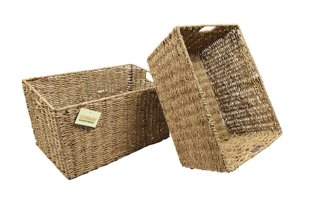 2 X Large Seagrass Shelf Storage Hamper Basket/Floor Basket Elitehousewares E01-116