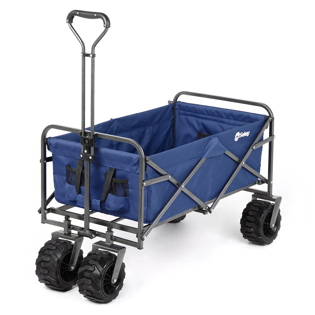 Sekey Folding Wagon Cart Collapsible Outdoor Utility Wagon Heavy Duty Beach Wagon with All-Terrain Wheels, 265 Pound Capacity, Blue by Sekey