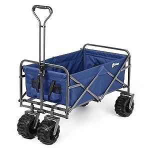 Sekey Folding Wagon Cart Collapsible Outdoor Utility Wagon Heavy Duty Beach Wagon with All-Terrain Wheels, 265 Pound Capacity, Blue