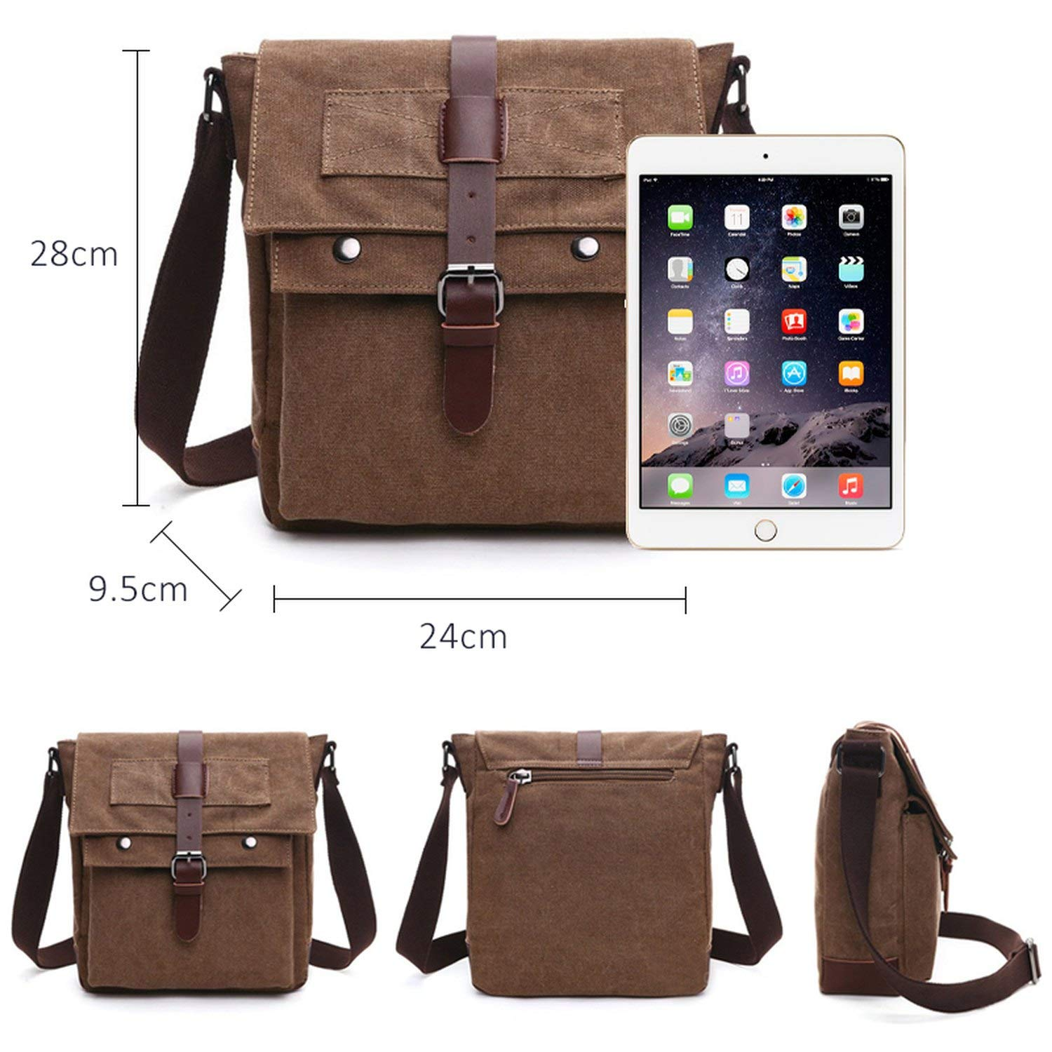 Business Messenger Bags For Men Student Canvas Crossbody Shoulder Pack Office Travel Bag,Coffee,Small