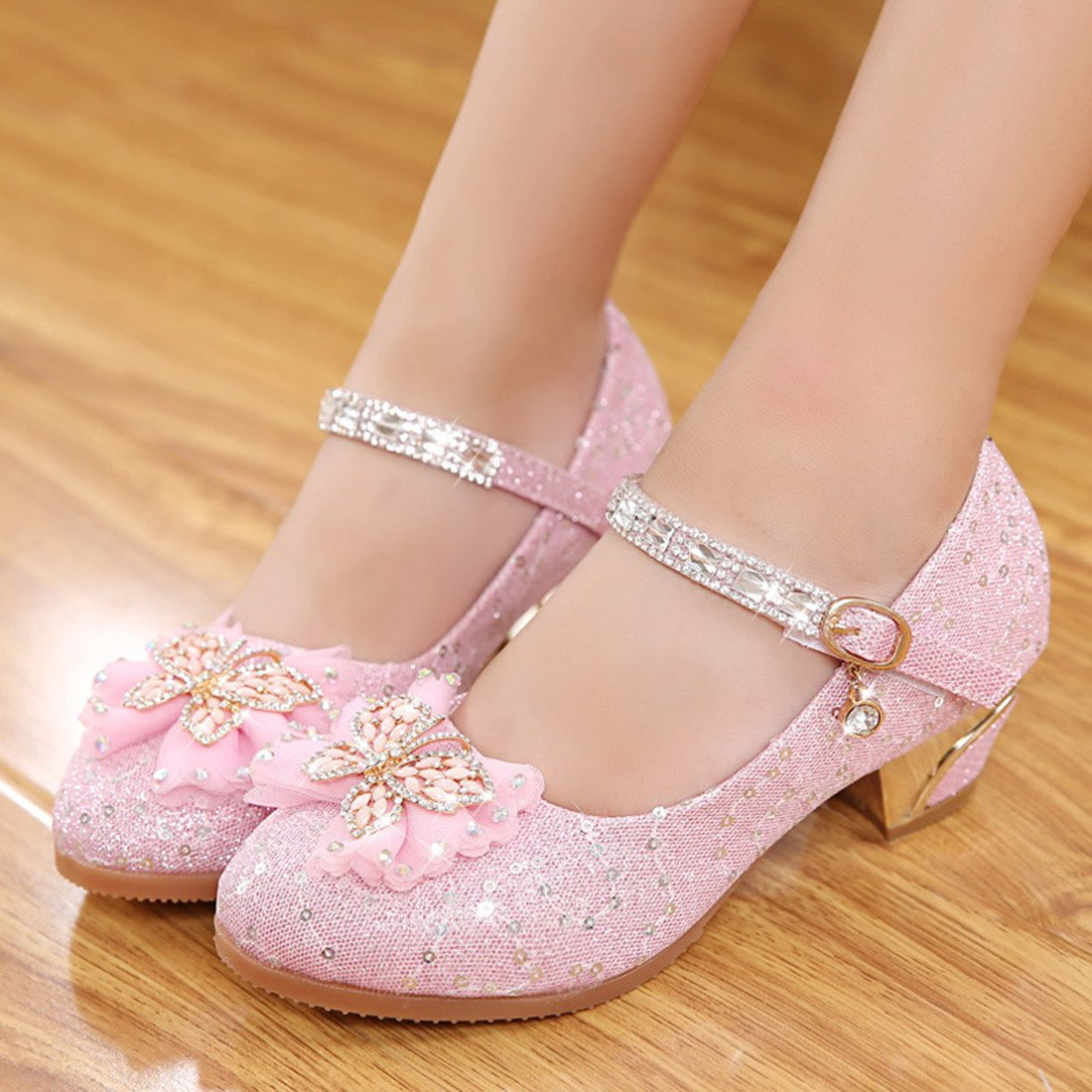 Toddler Littlle Big Kids Girls Glitter Wedding Shoes Dancing Party Mary Jane Flat Shoes Pink Size 2 by YANGXING (Image #5)