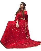 ShreeBalaji Creation Red Silk Women's Semi-stitched Lehenga Choli (Red Embrodery Leh_Free Size)
