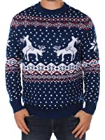 Men's Ugly Christmas Sweater - Reindeer Climax Tacky Christmas Sweater Blue