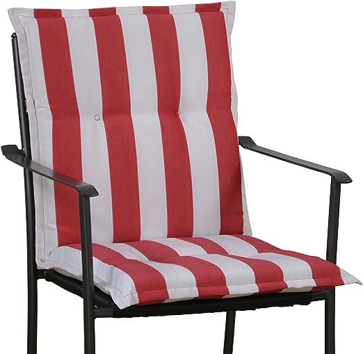 6 Cojines para sillón con Respaldo Baja 100 x 50 cm en Rojo y Blanco Rayas sin Silla: Amazon.es: Jardín