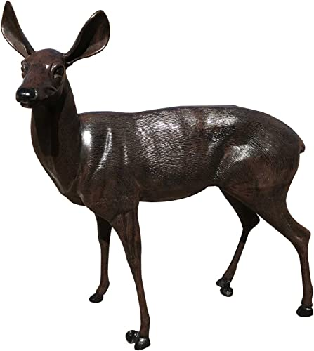MJM Life Size Deer Doe Aluminum Garden Statue