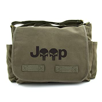 78e6cfe962 Jeep Wrangler Punisher Skull Heavyweight Messenger Shoulder Bag, Olive &  Black by Army Force Gear: Amazon.in: Bags, Wallets & Luggage