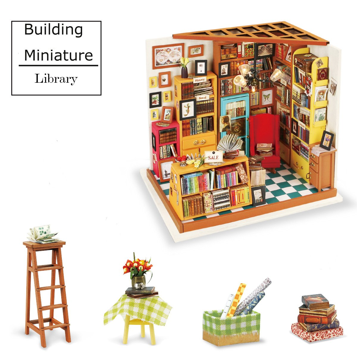 Dollhouse Kit to Build - DIY Library Miniature Furniture Accessories - Top Gift for Kids 14 Year Old and Up