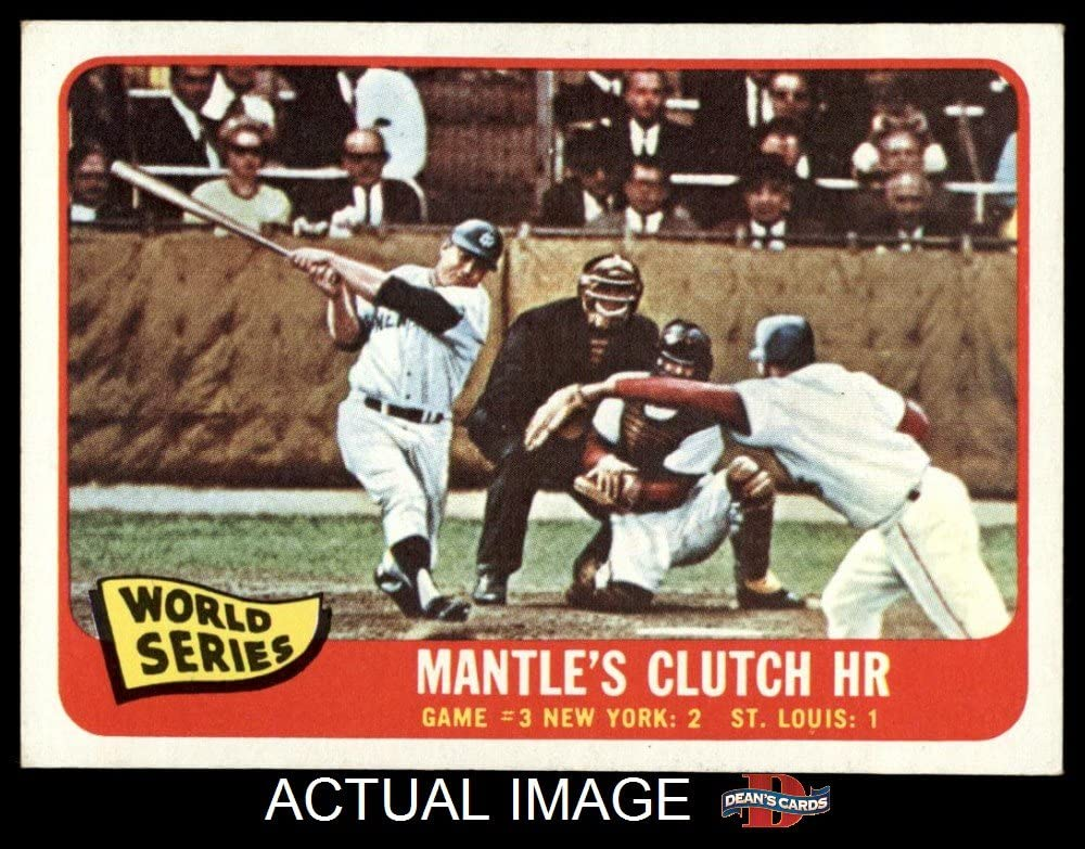 B00FD1W0OA 1965 Topps # 134 1964 World Series - Game #3 - Mantle's Clutch HR Mickey Mantle / Barney Schultz / Tim McCarver St. Louis / New York Cardinals / Yankees (Baseball Card) Dean's Cards 6 - EX/MT Cardinals / Yankees 71Vf3TzoSDL.SL1000_