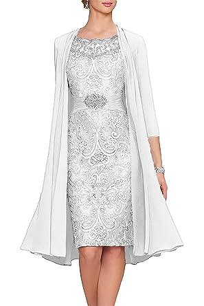 APXPF Femme thé Longueur mère de la mariée Robes Deux pièces avec Veste 2  Blanc 80886e959697
