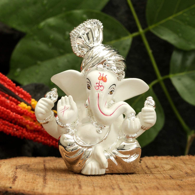 NOBILITY Silver Plated Terracotta Ganesha Idol - Statue Size: 8 x 6 cm, Silver