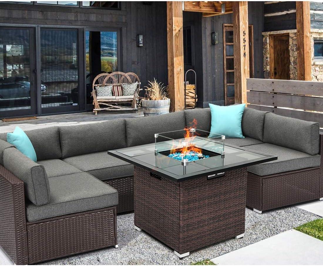 HOMPUS Outdoor Patio Furniture 7-Piece Wicker Sectional Sofa,Dark Gray Cushions w 32-inch Square Propane Fire Pit Table(40,000 BTU),Internal Tank Storage,Glass Wind Guard