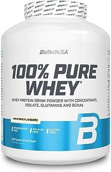 BioTechUSA 100% Pure Whey Complejo de proteína de suero, con aminoácidos añadidos y edulcorantes, sin conservantes, 2.27 kg, Arroz con leche