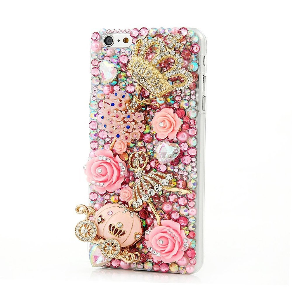 STENES iPT6LUXURIOUS-160524-9 カメラマウント用アクセサリー SE10741  Crown Pumpkin Car Ballet Girl Rose Flowers / Pink B01G4WR6CC