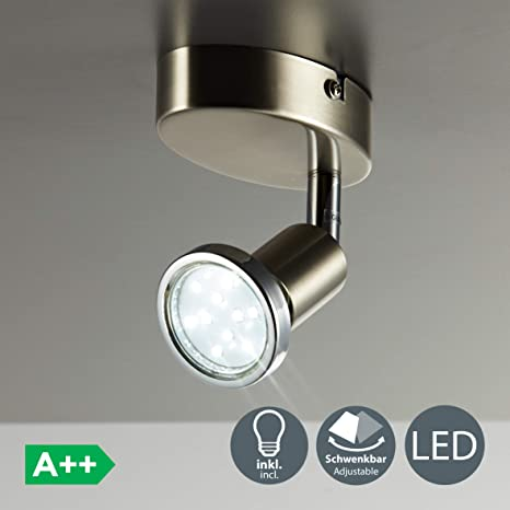Lámpara de techo y pared, Foco orientable y giratorio incl. 1x3W LED GU10 250lm, Luz blanco cálido 3000K, Metal, Color níquel mate, 230 V IP20