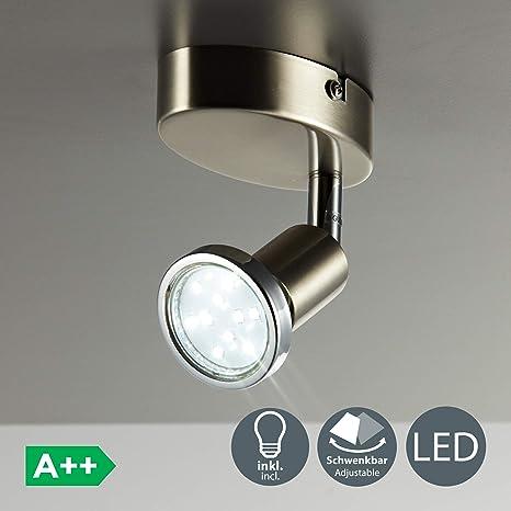 Lámpara de techo y pared, Foco orientable y giratorio incl. 1x3W LED GU10 250lm, Luz blanco cálido 3000K, Metal, Color níquel mate, 230 V IP20