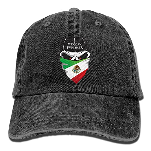 Amazon.com  Mexican Punisher Skull Decal Adult Fashion COWBOY HAT ... e5b0a365e03