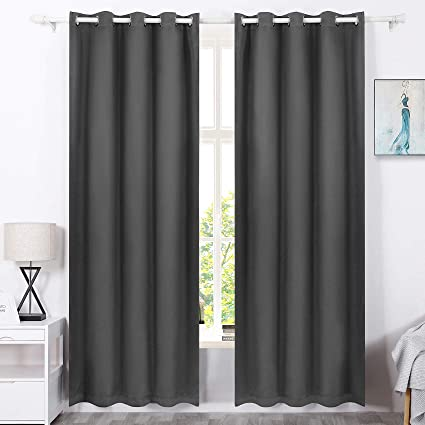 MoMA Gray Blackout Curtains (2 Pc.) - Eclipse Blackout Curtains - Thermal  Bedroom Curtains - Room Darkening Curtains - Dark Curtains - Living Room ...