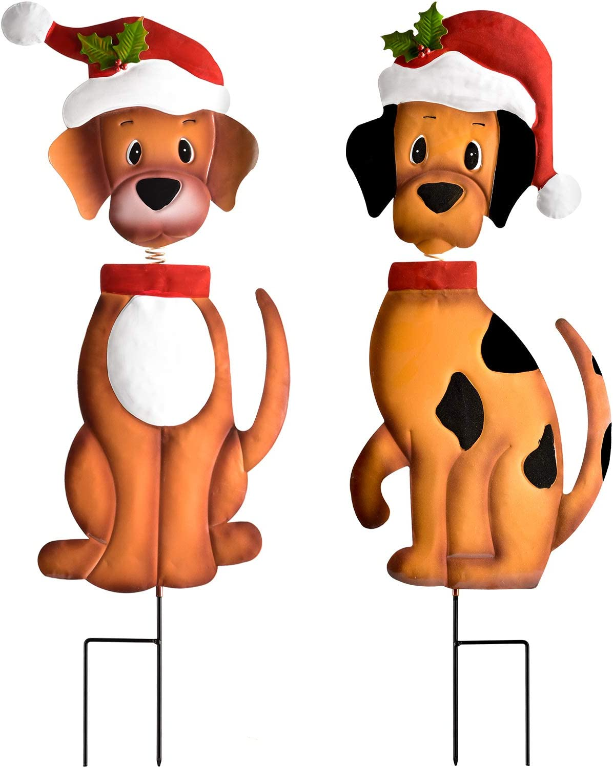"""Artiflr 2 Pack Christmas Yard Signs Decorations, 26"""" Metal Bobble-Head Dog Yard Decor Signs Garden Stakes for Outdoor Garden Lawn Pathway Christmas Decoration"""