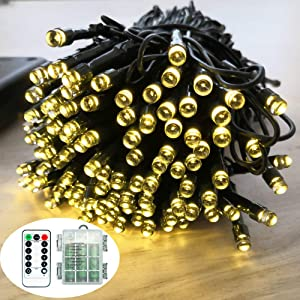 Battery Remote Control String Lights, Christmas Lights 100 LED Clear Mini Lights Set for Christmas Tree Wedding Indoor Outdoor Wreath Party Garden Thanksgiving Decoration, 36ft Waterproof (warm white)