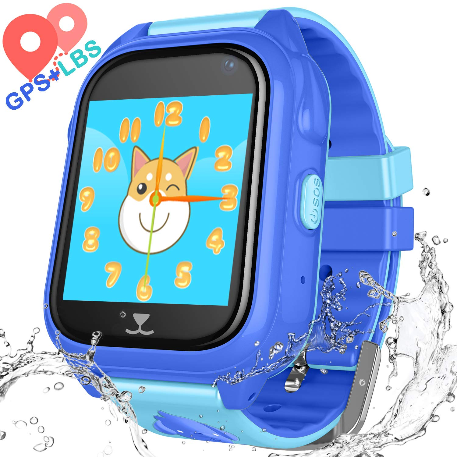 YENISEY Kids Waterproof Smart Watch Phone - Children Water Resistant GPS Tracker Watch with Call Talkie Walkie Games Sports Wristband for Boys Girls
