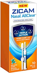 ZICAM Nasal AllClear Triple Action Nasal Cleanser with Cooling Menthol, 10 Count