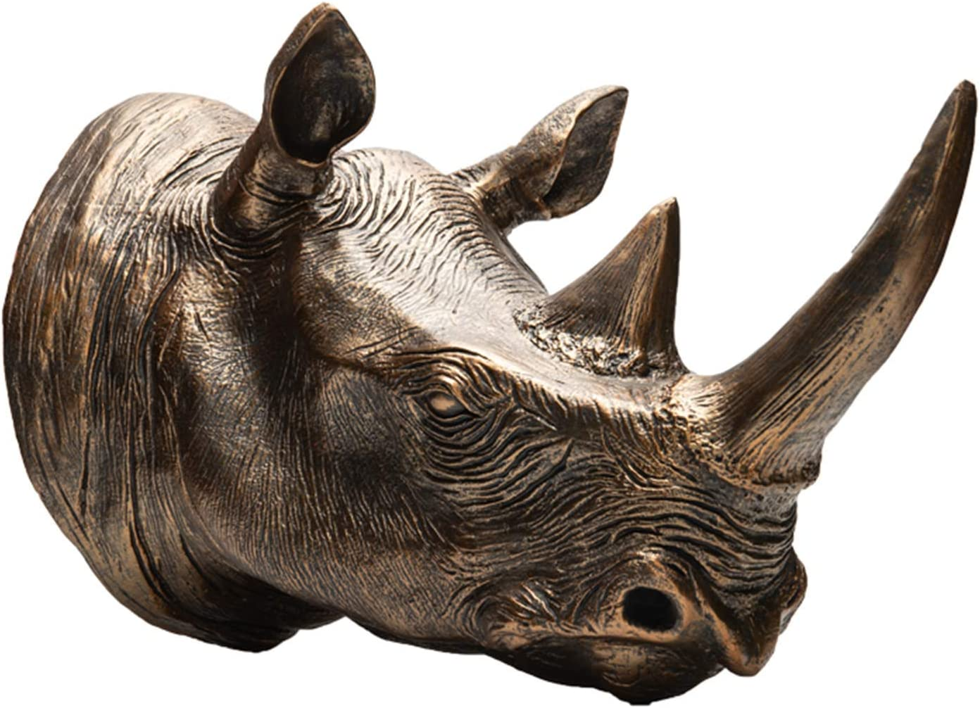 LUCKFY Faux Taxidermy Resin Rhino Head in Animal Head Wall Decor Deer Head Wall Mount Sculpture Figurines Crafts Home Decor Ornaments Gift