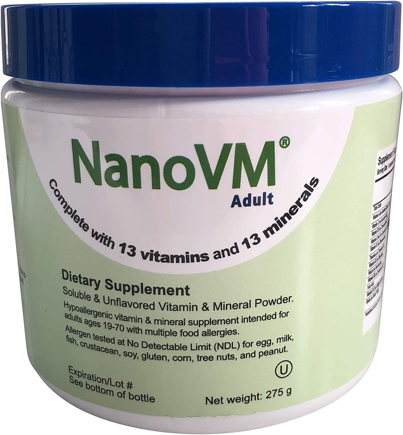 Solace Nutrition NanoVM Adult Diet Supplement, 275g Mineral Supplement Designed for Seniors with Multiple Food Allergies.