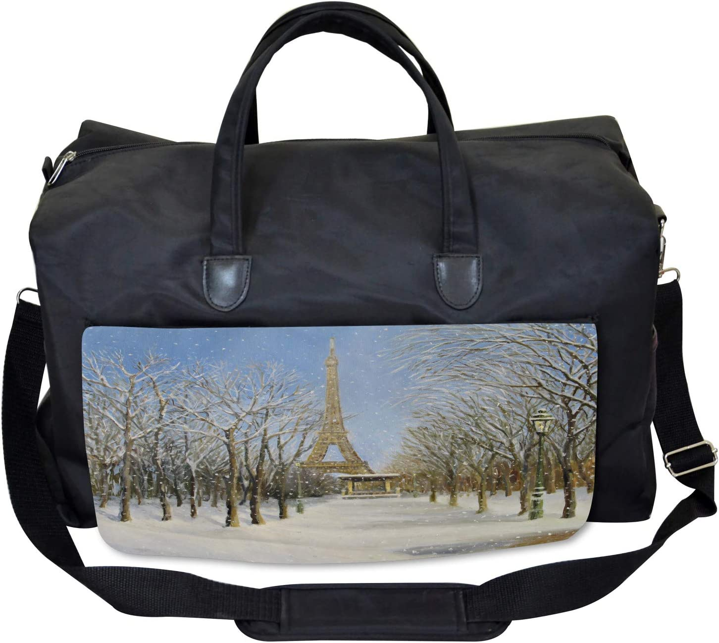 Large Weekender Carry-on Snowy Paris City View Ambesonne Winter Gym Bag
