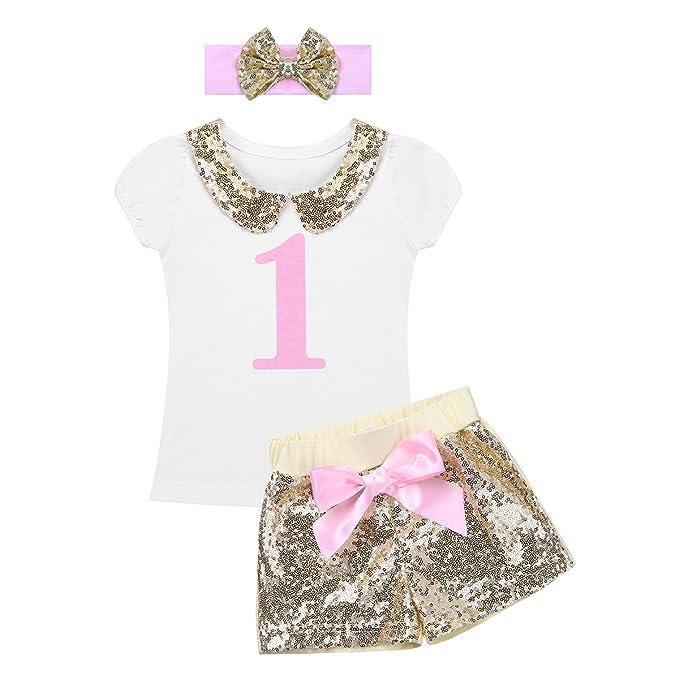 YIZYIF Conjuntos Ropa Para Bebé Niña Verano 3PCS Blusa Blanca y Pantalones cortos Blanco 12-