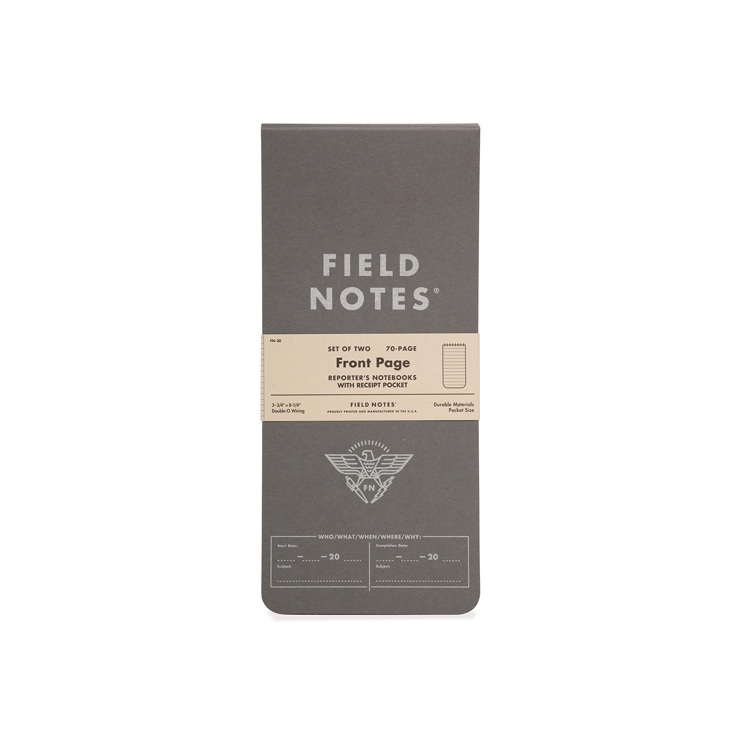Field Notes - Front Page 2-Pack of Reporter's Notebooks - 3.75'' x 8'' by Field Notes