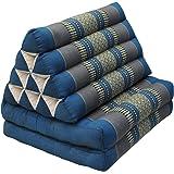 Coussin Thailandais triangle avec assise 2 plis, détente, matelas, kapok, , jardin, plage, Bleu-gris (81902)