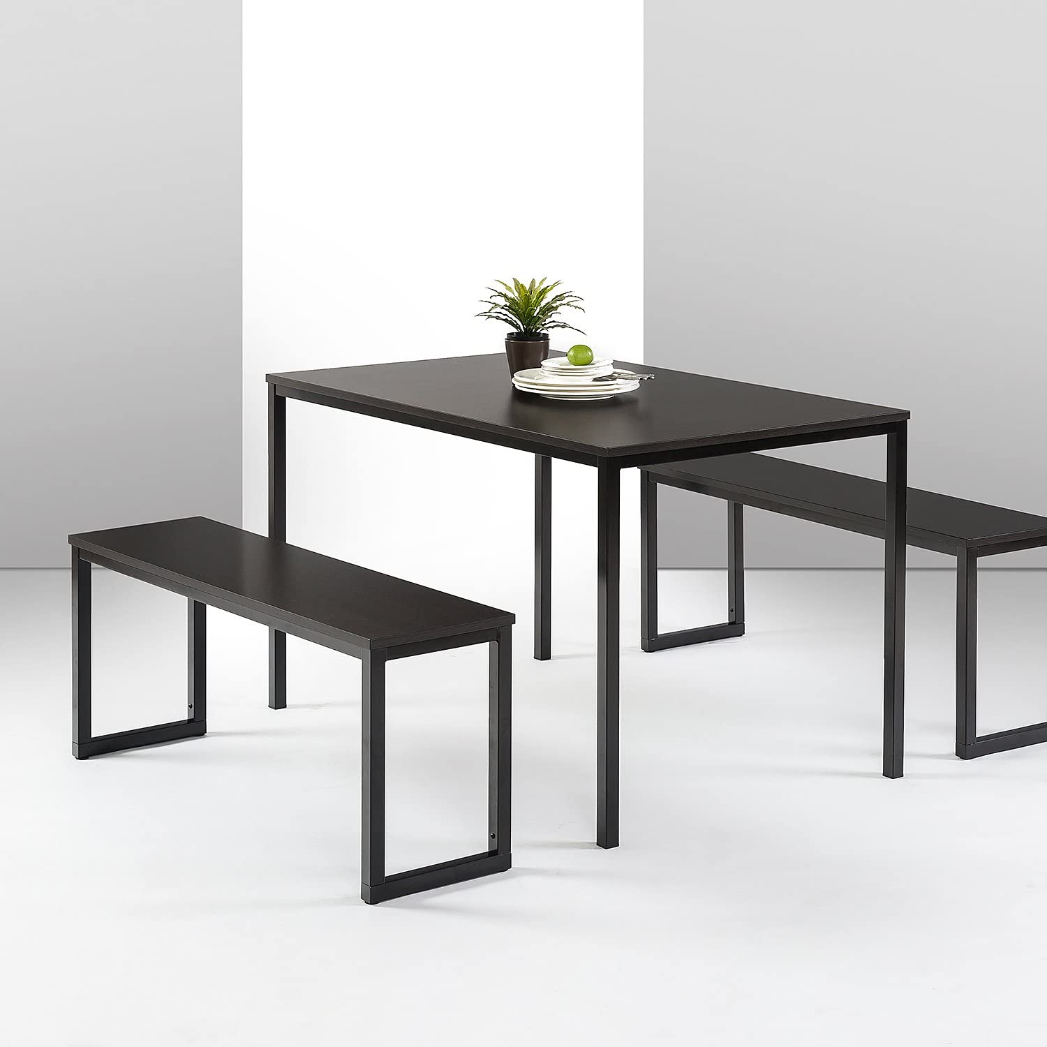 Zinus Louis Modern Studio Collection Soho Dining Table with Two Benches 3 piece set, Espresso