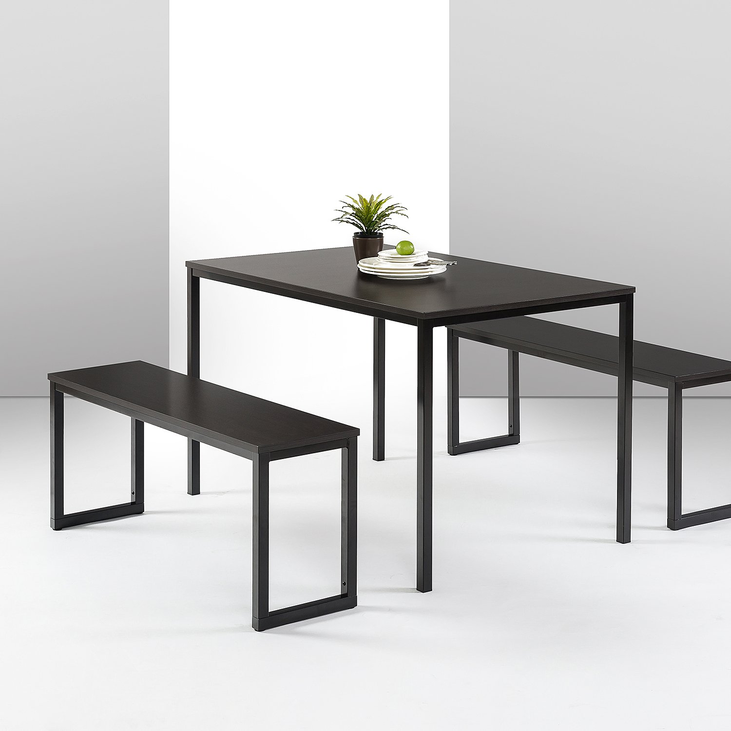 Zinus Louis Modern Studio Collection Soho Dining Table with Two Benches / 3 piece set, Espresso by Zinus